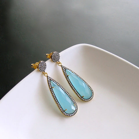 #2 Linzi II Earrings Aqua Chalcedony Teardrop Earrings