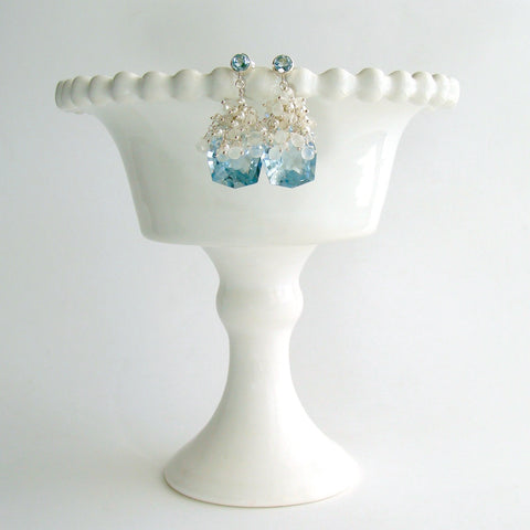 #3 Diana IV Earrings - Blue Topaz Moonstone Seed Pearls
