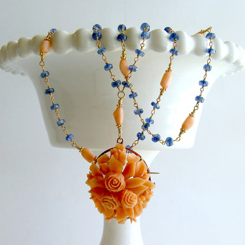 #2 Daphne Necklace - Kyanite Antique Coral