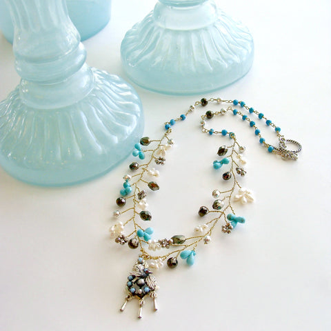 #4 Pajarito Flora Necklace - Turquoise Pearls Pyrite