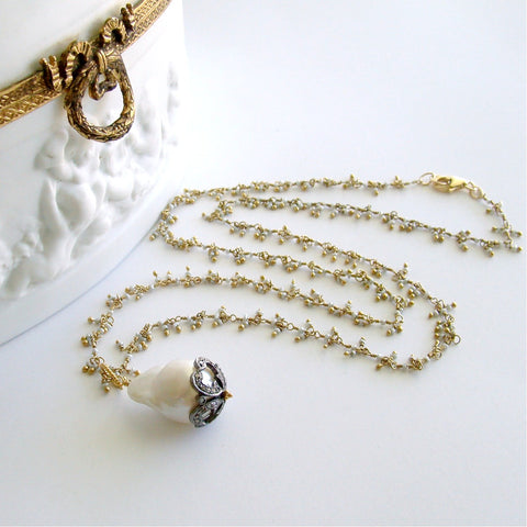 #1 Chantilly IV Necklace - Flamball Pearl Diamonds