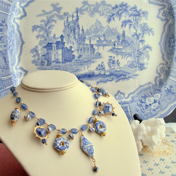 Kyanite Blue White Porcelain Bead Charm Necklace - Bluebelle IV Necklace