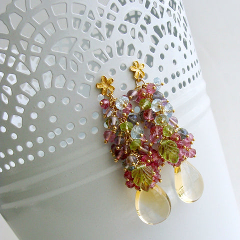 Citrine, Blue Topaz, Pink Topaz, Amethyst, Peridot and Iolite Cluster Earrings - Fleur II Earrings