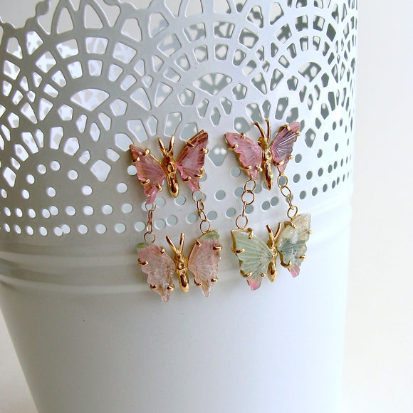 Watermelon Tourmaline Double Butterfly Earrings - Le Papillon II Earrings