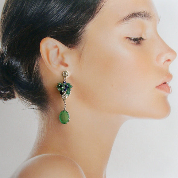 Green Venetian Glass Intaglios With Emerald Lapis Clusters - Ravello Earrings