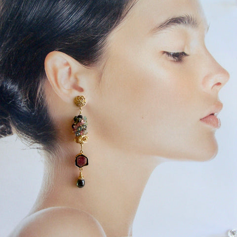 Tourmaline Slices Long Tourmaline Cluster Earrings - Tatiana II Earrings