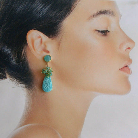 Carved Turquoise Aqua Blue Opal Cluster Earrings - Trisha Earrings