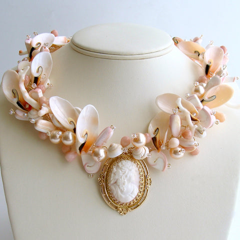 #1 Shell of an Idea IV Necklace - 14k Gold Angelskin Coral Cameo Shells