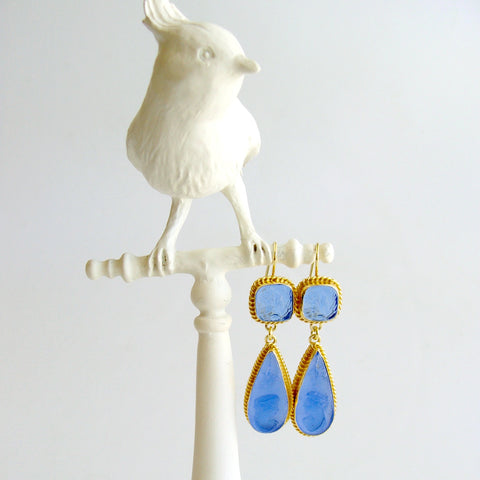 #2 Cipressa Earrings - Azure Blue Intaglio Cameo Earrings
