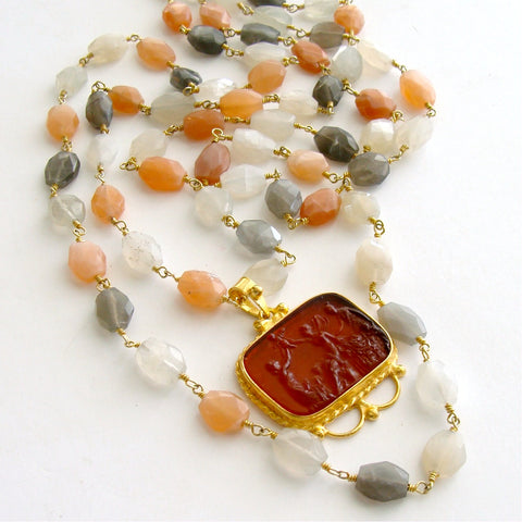 #2 Castelmezzano Necklace - Multi Moonstone Venetian Glass Intaglio