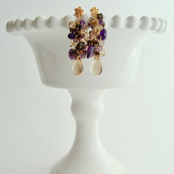 Champagne Citrine Carved Amethyst Leaves Cluster Earrings - Fleur X Earrings