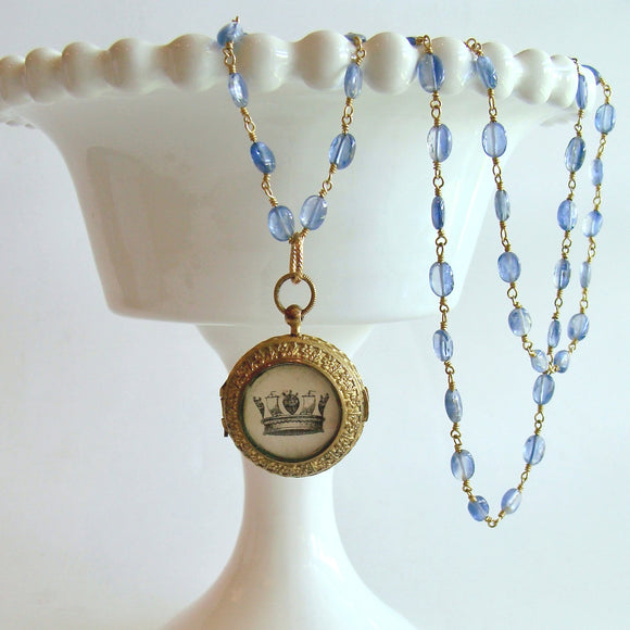 Kyanite With Georgian Crown & MOP Vinaigrette Locket - Azora Necklace