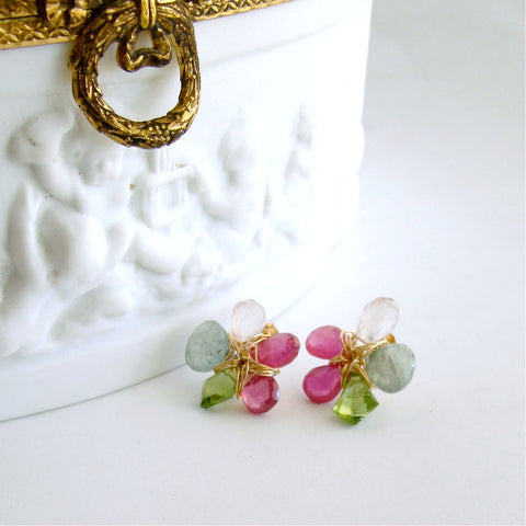 #1 Dacia Post Earrings - Pink Sappire Moss Aquamarine Peridot Rose Quartz Flower Earrings