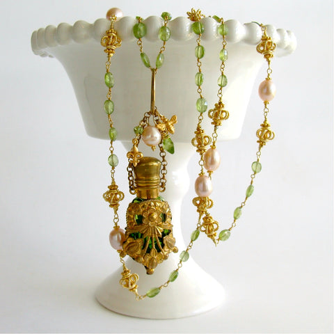 #2 Juliana Scent Bottle Necklace - Peridot & Pink Pearls