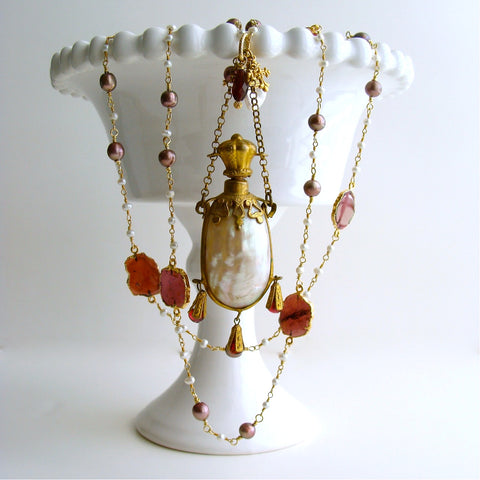 #2 Guinevere II Necklace - Garnet Pearls Chatelaine Pearl Scent Bottle