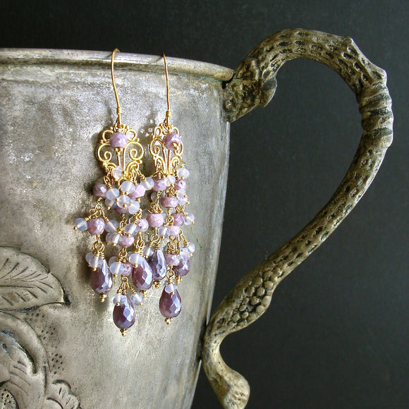 #4 Veronique Chandelier Earrings - Silverite Lavender Opal Moon Quartz