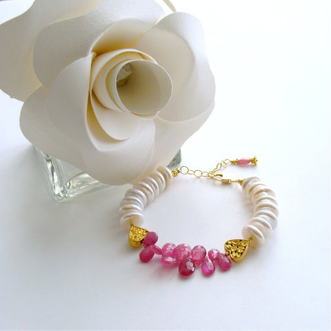 #2 Valentina II Bracelet - Pink Sapphires Coin Pearls