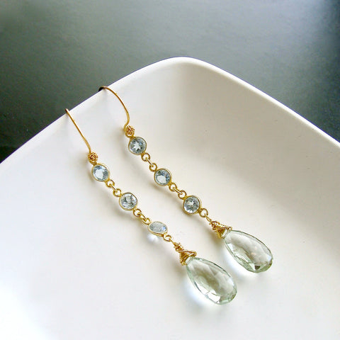 #3 Audrey Earrings - Blue Topaz Prasiolite
