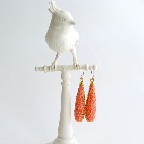 #1 Marci Earrings - Carved Coral Teardrops