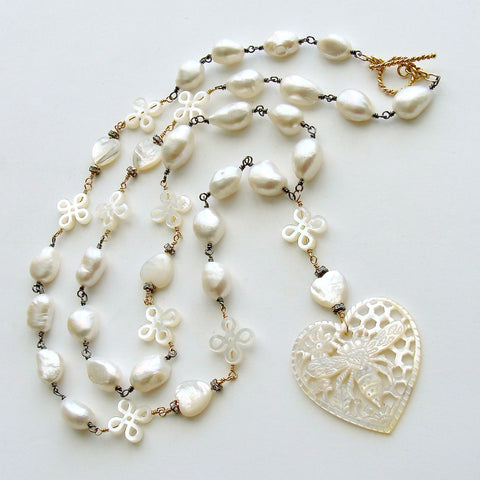 #1 Quenby Necklace - Pearls Mother of Pearl Queen Bee Heart