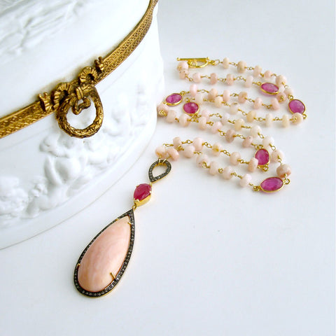#2 Lisette Necklace - Peruvian Pink Opal Pink Sapphire Diamonds Necklace