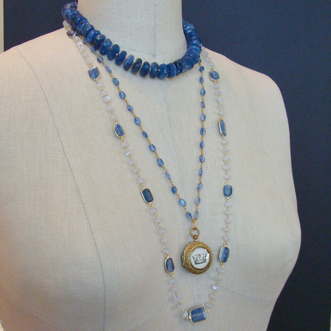 Long Moonstone With Kyanite Bezel Slab Stations Necklace - Atasi Necklace