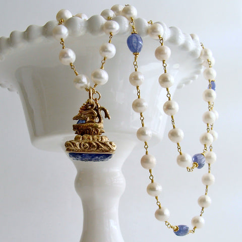 Tanzanite Nuggets and Freshwater Pearls Hand Carved Tanzanite Swan Fob Necklace - Étaín II Necklace