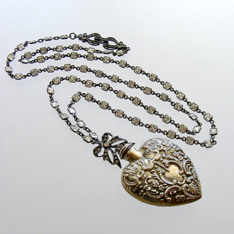 #1 Cressida Necklace - Repousse Sterling Heart Chatelaine Scent Bottle CZ Chain
