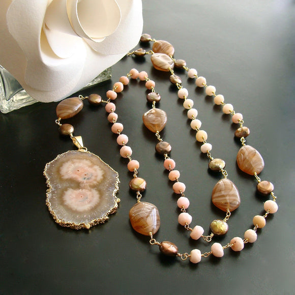 #3 Angela III Necklace - Peruvian Pink Opal Agate Coin Pearls Stalactite Pendant Necklace