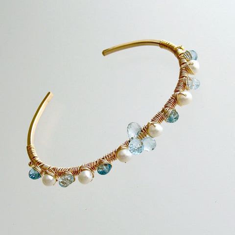 #1PM Diana Stacking Bracelet - Blue Topaz Pearls