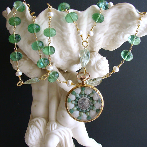 #5 Genovesa Necklace - Green Fluorite Prasiolite Sailors Valentine Necklace