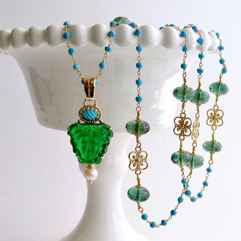 #1 Medusa Necklace - Venetian Glass Medusa Turquoise
