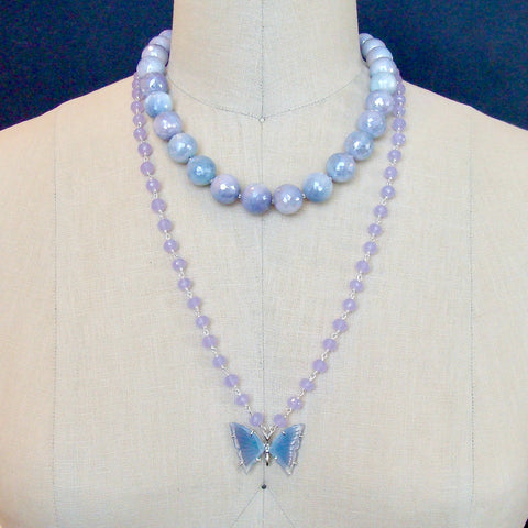 #8 Violet Necklace - Mystic Lavender Moonstone Choker Necklace