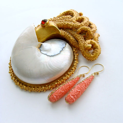 #2 Marci Earrings - Carved Coral Teardrops