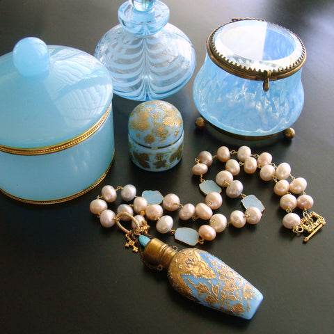 #3 Penina Necklace - Blue Opaline Scent Bottle Pearls Turquoise