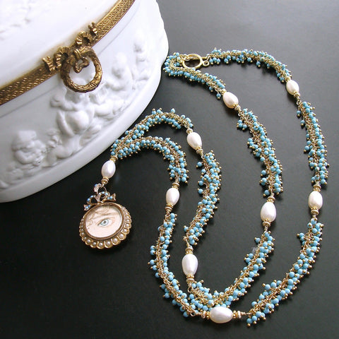 #5 Lilah Lovers Eye Necklace - Turquoise Pearls
