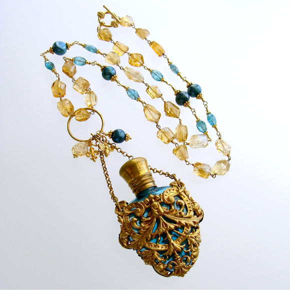 #1 Rosalie Necklace - Citrine Apatite Chatelaine Perfume Bottle Necklace