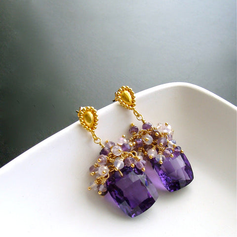 #3 Paisley Earrings - Amethyst Scorolite Rose Quartz Cluster Earrings
