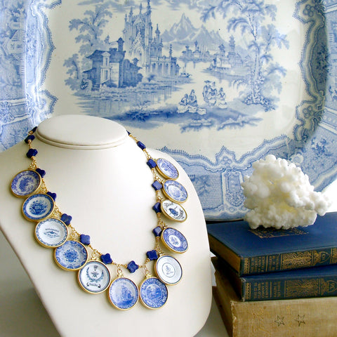 #3 China Doll Blue White Necklace - Lapis Quatrefoils Blue White Plates