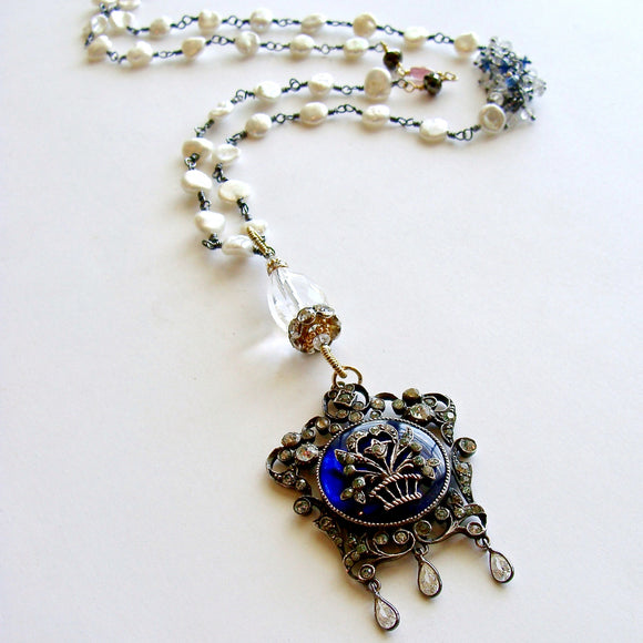 #2 Ayla Necklace - Georgian Silver Paste Enamel Pendant Keishi Pearls Kyanite & Rock Crystal