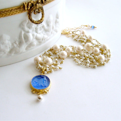 #2 Taormina Necklace - Pearls Venetian Blue Intaglio