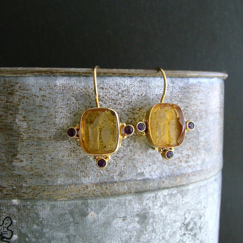 #4 Citerna Earrings - Citrine Glass Intaglio Amethyst Earrings