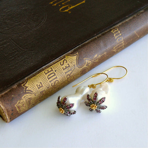 #1A Chantilly  Rhodolite Earrings - Baroque Pearls Rhodolite Garnet