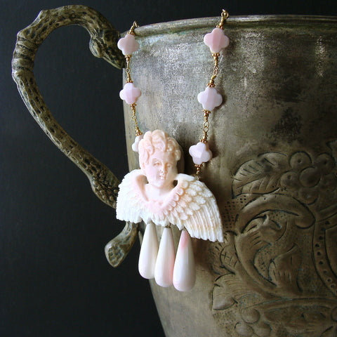 #8 Amorette Necklace - Pink Shell Cherub Angel Necklace