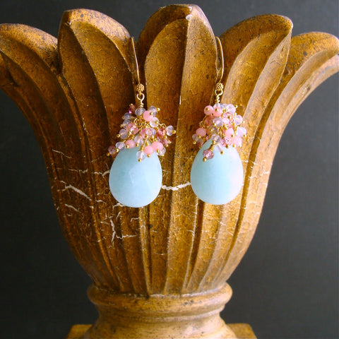 #1 Seraphine Earrings - Amazonite Pink Topaz Lavender Opal Pink Quartz