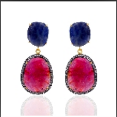 Reserved for GK - Pink Blue Sapphire Diamond Earrings