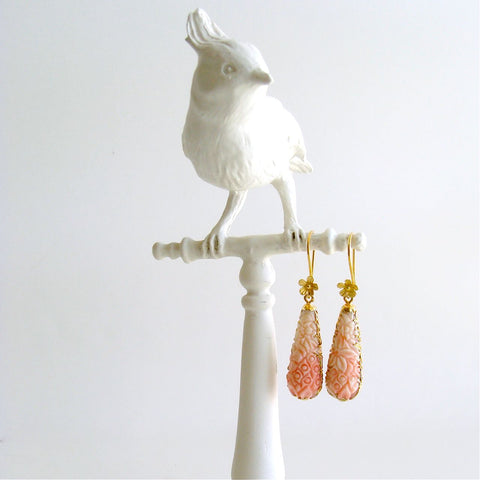 #1 Lucy Earrings - Carved Shell Dangle Earrings