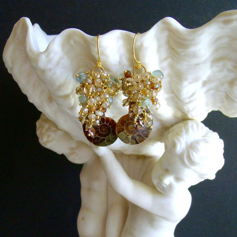#2 Irielle IV Earrings - Ammonite Moss Aquamarine Citrine Topaz Zircon Hessonite