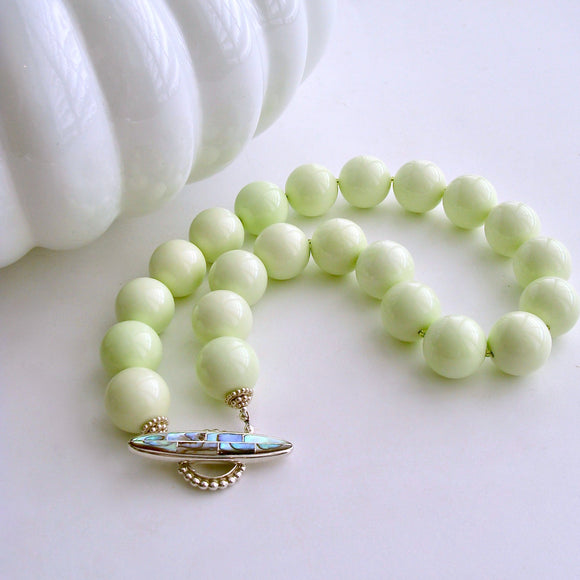 #2 Honeydew Choker Necklace - Lemon Magnesite Abalone