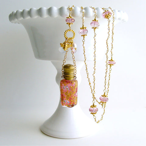 #2 Patience Necklace - Cranberry Chatalaine Scent Bottle Pearls Pink Topaz